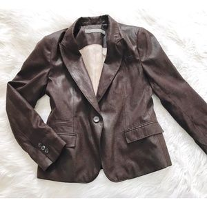 Zara faux leather/suede blazer, brown, Size L